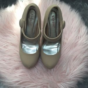 Tan mary jane pumps